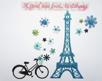 Applied fusing Eiffel Tower glitter fabrics and different liberty blue applied glitter collection patterns liberty patch