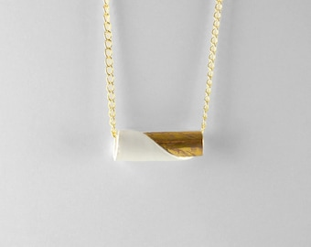Gold and white porcelain roll necklace - modern minimalist jewelry made in Spain