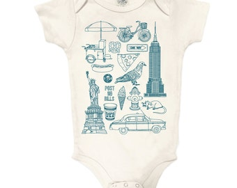 NYC Collage Organic Cotton Onesie: New York City, Bodysuit, Baby Gift, Romper, Pigeon, Taxi, Statue of Liberty