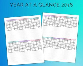 Year At A Glance 2018 Printable Calendar