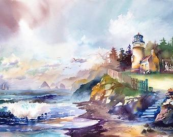 North Oregon Shore - Lighthouse Watercolor Painting Print. Coastal Art. Beach. Sailboats.Tree. Flowers. Green. Fence. Steps. Beach. Seagulls