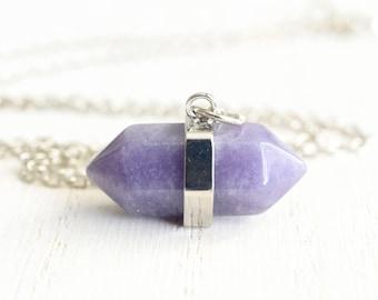 Purple Amethyst Crystal Necklace February Birthstone Jewelry