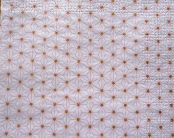 Scandinavian napkin golden stars on pink background