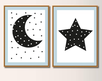 Set Moon and Star, Art Print, Art Print, Heart Poster, Nursery Art, Minimalist Print, Minimal Print