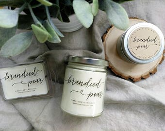 brandied pear - hand poured soy candle