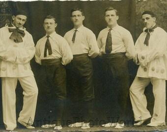 Men dressed as clown harlequin antique photo