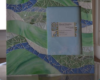 Light green and blue mosaic picture frame