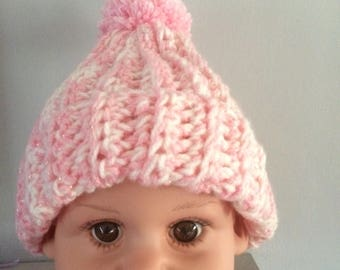 """Pretty Childs pink and white glittery bobble hat, head size 16-18"""""""