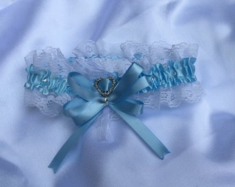 Something Blue Wedding Garter - Bridal Garter - Lace Garter - with choice colour bow