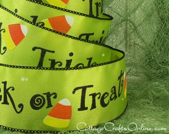 """Halloween Wired Ribbon, 2 1/2"""", Trick or Treat Script, Lime Green Satin - THREE & 1/8 YARDS -  Candy Corn #710079 Craft Wire Edged Ribbon"""