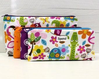 FULL SIZE Kids Cash Envelope System - Give Save Spend - Cash Budget System - 3 Zippered Cash Budget Envelopes and Case - Ready to Ship