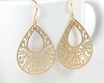 Gold Teardrop Earrings, Filigree Gold Earrings, Teardrop Earrings, Gold Dangle Earrings, Teardrop Drop Gold Earrings