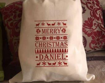 Personalised Santa Sack & Gift Bags - Skandi Daniel Design