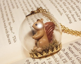 Squirrel Globe Necklace