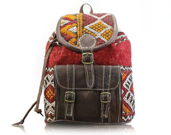 Vintage Kilim Rucksack - leather backpack - ethnic kilim bag - moroccan bag - morocan leather kilim bag - Hippie rucksack - Boho Backpack