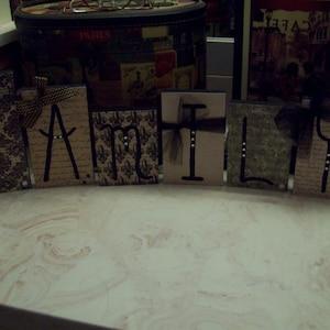 Family Letter Blocks Cream And Black,Family Sign,word Blocks,French Home  Decor
