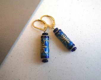 Blue & Silver Cloisonne Enamel Barrel Bead Earrings - Asian Characters