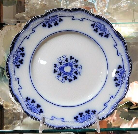 Flow Blue Plate / W H Grindley / Lorne / Staffordshire  / Victorian  / Art Nouveau  / Porcelain