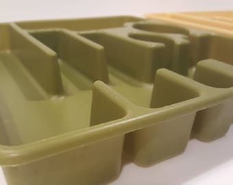Green or Yellow Silverware Tray // Rubbermaid 2922 // 6 compartment large cutlery organizer // retro mid century kitchen organizer