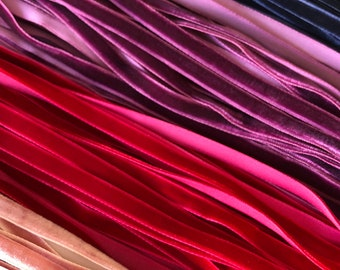 """Velvet ribbon 6mm, 1/4"""" width / Wholesale ribbon / ribbon by the yard, over 80 colours / also available in 9mm 3/8"""" width"""