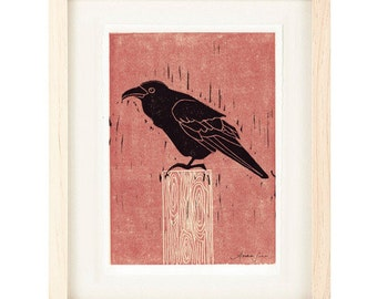 COMMON RAVEN Reproduction Linocut Art Print: 4 x 6, 5 x 7