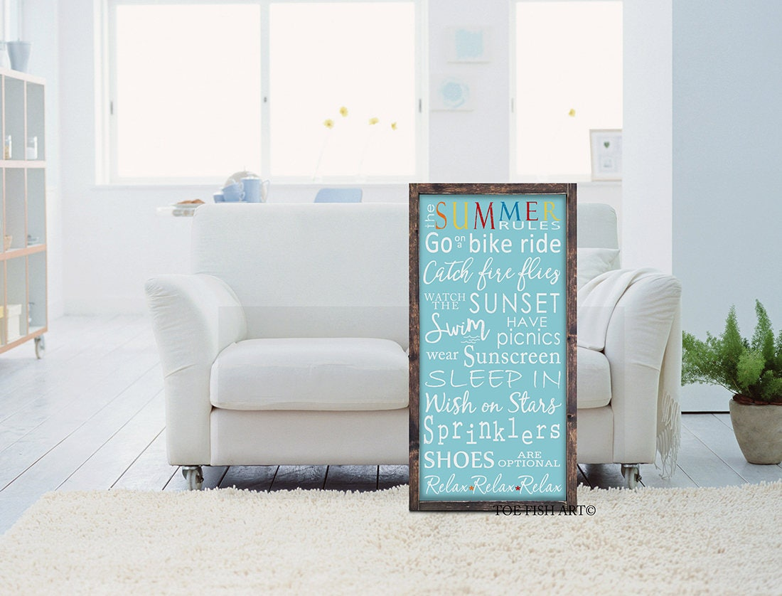 Summer Rules Sign Summer Fun Custom Sign Home Decor