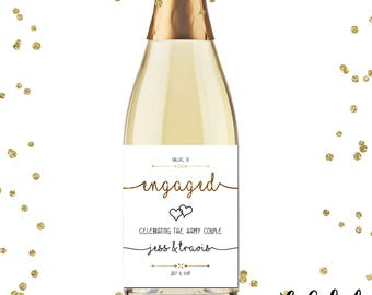 """Engagement Party Personalized Champagne Labels, Engagement Party Wine Labels, Engagement Party Printable Wine Labels, 4x5"""""""