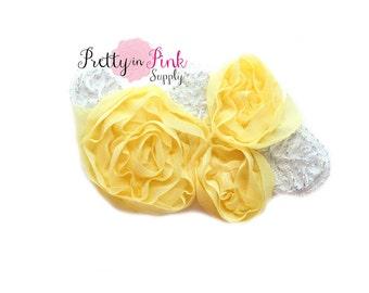 Yellow LACED Leaf Chiffon Flower Applique Trim - Shabby Chiffon Rosettes -You Choose Quantity- Shabby Flower Trim-Lace Flower-Rosette Flower