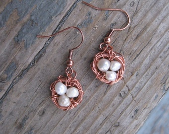Three Bird Nest Earrings in Copper and Pearl / Bird Nest Earrings / Three Bird Nest Earrings / Mother's Day Jewelry