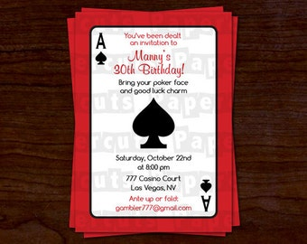 Casino Night Poker Theme Birthday Party Invitation | Red & Black | Personalized | Printable DIY Digital File