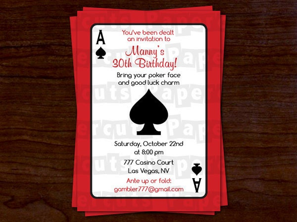 Casino Night Poker Theme Birthday Party Invitation Red - Party invitation template: casino theme party invitations template free