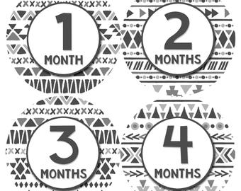 Baby Month Stickers Monthly Baby Sticker Monthly Baby Stickers Baby Month Stickers Milestone Stickers Photo Stickers Tribal Aztec 1208