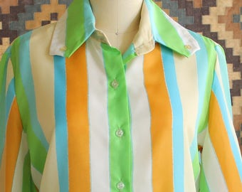 mod 60s blouse, made in Japan . womens striped button front shirt, sheer poly . size medium large