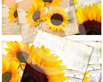 Vintage sunflowers digital collage sheet 4x4 inch tiles instant download and printable for scrapbooking, coasters and more...