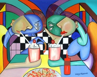 The Way It Use To Be Poster Print Cubism Couple Grill French Fries Anthony Falbo
