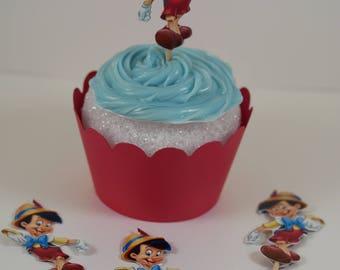 Pinocchio, Pinocchio birthday, Cupcake Wrappers and toppers set, cupcake wrapper, Pinocchio cupcake picks