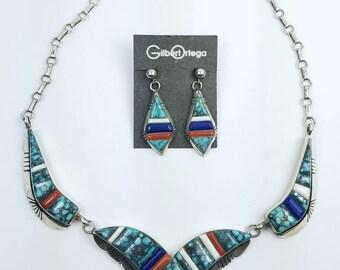 Native American Navajo handmade Sterling Silver multi-stone cobble stone inlay necklace set