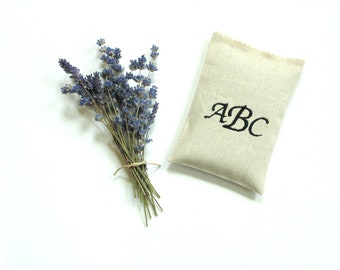 Monogram sachet, embroidered letters  linen fabric organic lavender buds, personalized drawer freshener