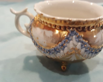 Vintage Gold Beaded Swag Teacups - Lot of 2