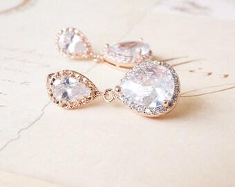 Earrings, Rose Gold Earrings, Crystal Earrings, Dangle Earrings, Drop Earrings, Post Earrings, Bridal Earrings, Wedding Jewelry, Gift
