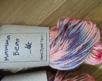 Hand dyed yarn, DK super-wash merino/nylon wool Rainbow Parrot
