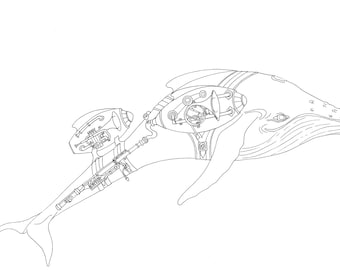Colouring Page Whales take Flight