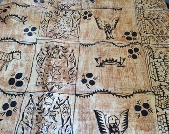 Genuine Polynesian Free Style Hand Painted Tapa Cloth. Tongan Ngatu Or Tapa Cloth. Please Select The Piece You Like! Perfect For Costumes.