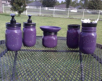 Ball Mason Jar Bathroom Set - Eggplant Purple and Black - Full Bathroom Set or CHOOSE COLOR
