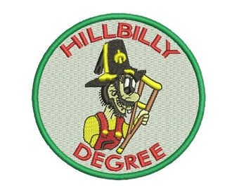 hillbilly degree embroidery design