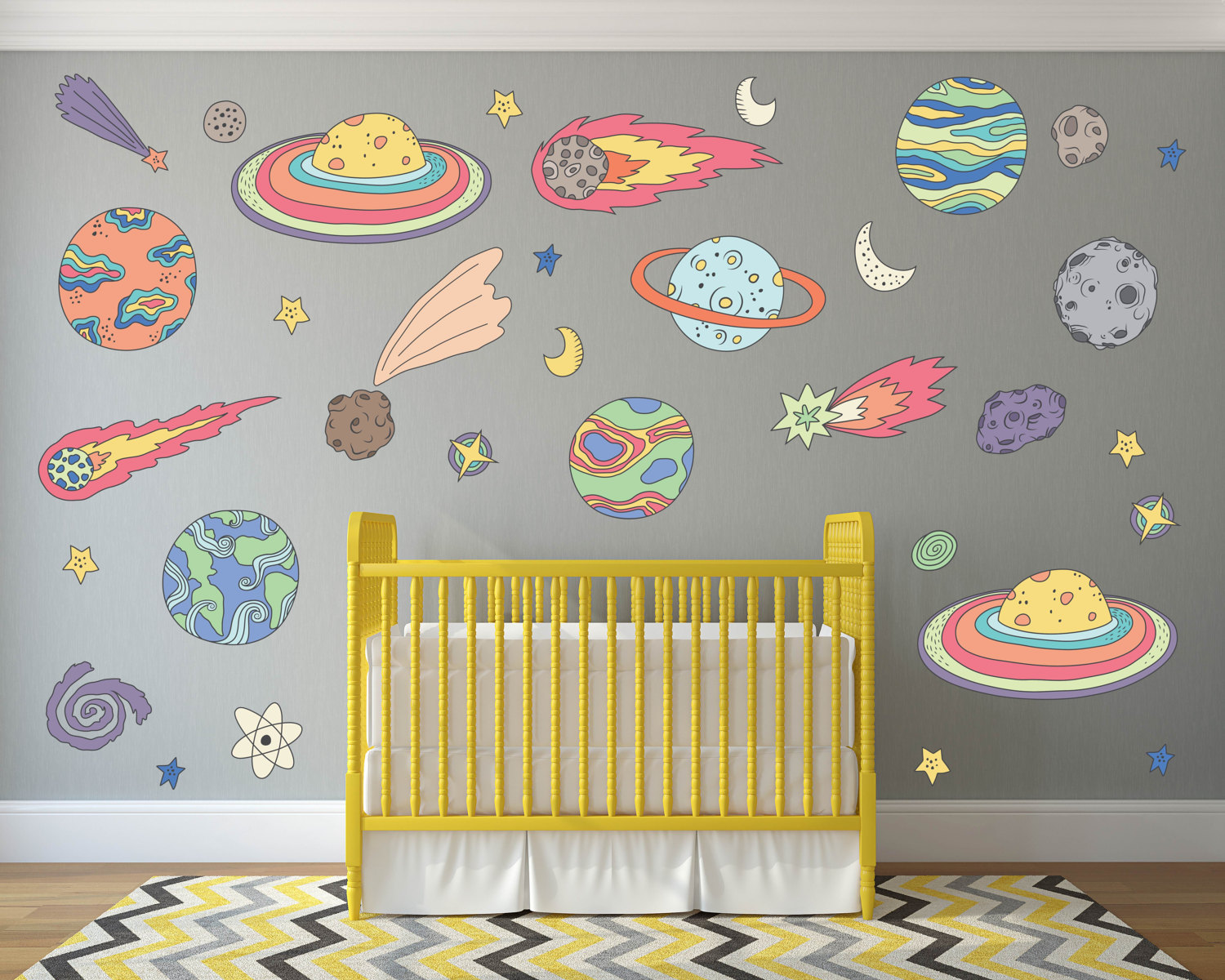 Outer space kids room decor outer space wall decals space for Outer space childrens decor
