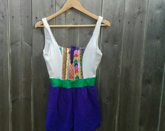 Vintage 1980s Swimsuit Romper Jumper 80s Colorful One Piece Onepiece Beach Party