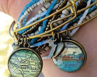 Custom Brass Map Charm Bracelet - Map Bracelet - Map Jewelry - Travel Bracelet - Travel Jewelry - Custom Map Jewelry - Choose City