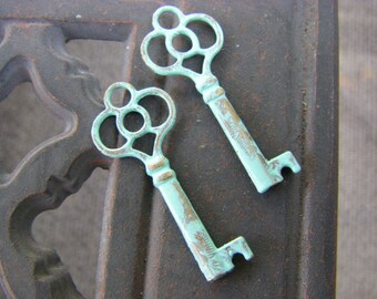 2 Patina Key Charms, verdigris patina, patina charms,  43x17mm, vintage style,  Ships quick from USA