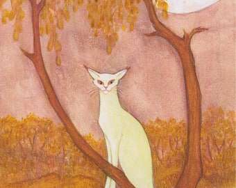 New Cat Art Print Elegant Cat in Garden under a Full Moon